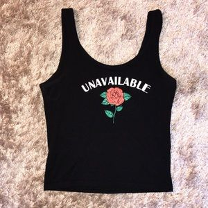 H&M black graphic rose tank top